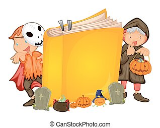 bambini, halloween, libro, costume