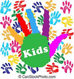 bambini, handprint, indica, umano, colorito, bambini