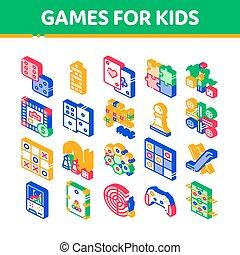 bambini, icone, giochi, isometrico, vettore, interattivo, set