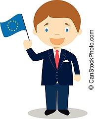 bambini, illustration., unione, collection., character., vettore, europeo, cartone animato, storia