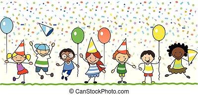 bambini, -, illustrazione, festeggiare, festa compleanno, bambini, felice