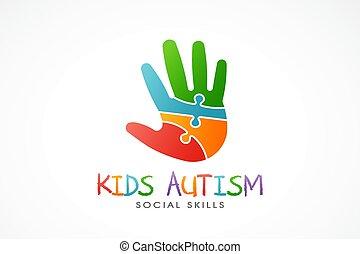 bambini, illustrazione, mano, vettore, logo., autism