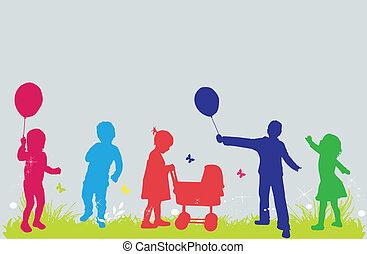 bambini, illustrazione, natura, vettore