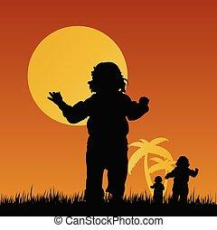 bambini, illustrazione, natura