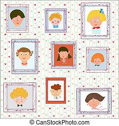 bambini, illustrazione, parete, -, ritratti, galleria, divertente