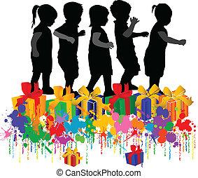 bambini, illustrazione, vettore