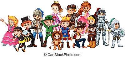 bambini, in, costume scenico
