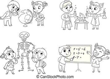 bambini, in, il, lezione, di, geografia, chimica, matematica, e, biologia