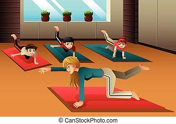 bambini, in, uno, classe yoga