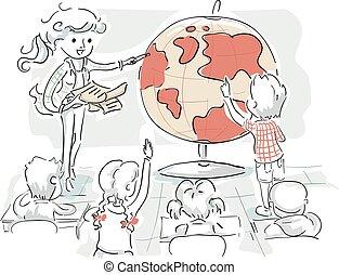 bambini, insegnante, geografia, studio, illustrazione