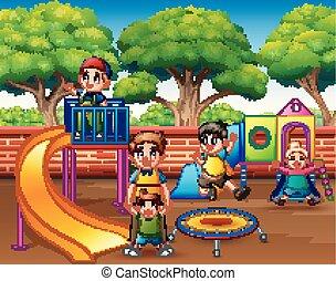 bambini, insieme, eccitato, campo di gioco, divertimento, detenere, felice