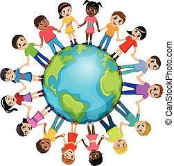 bambini, intorno, isolato, mano, mondo, bambini