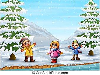 bambini, inverno, eseguendo fuori