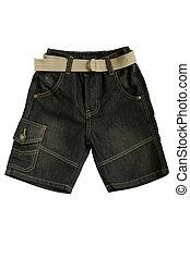 bambini, jean, -, indossare, calzoncini