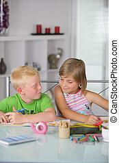 bambini, lavorando, arti arti