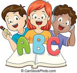 bambini, leggere, illustrazione, scrivere, libro, imparare, ascoltare