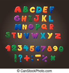 bambini, lettere, variopinto, simboli, vettore, font,...