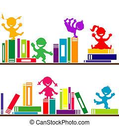 bambini, libri, gioco, mensole