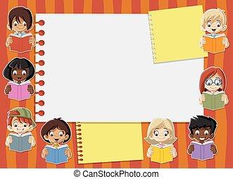 bambini, libri, lettura studente, cartone animato, scheda