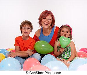 bambini, mamma, festa