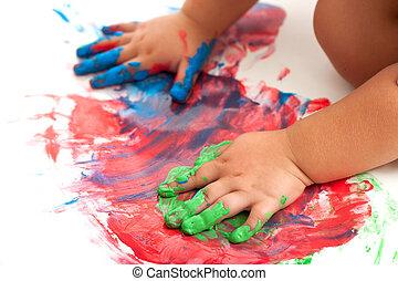 bambini, mani, pittura, colorito, mosaic.