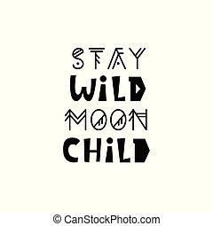 bambini, manifesto, stare, inspirational, selvatico, luna, child.