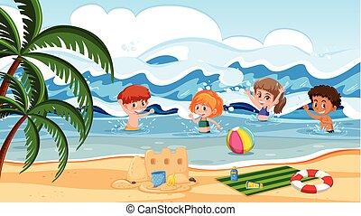 bambini, mare, gioco