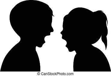 bambini, matto, silhouette