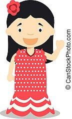 bambini, modo, collection., carattere, tradizionale, vettore, dancer., vestito, mondo, flamenco, spagna, illustration.