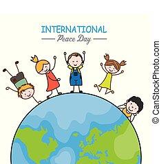 bambini, mondo, intorno