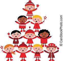 bambini, multicultural, albero, isolato, natale bianco
