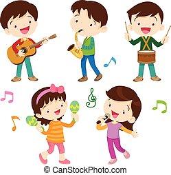 bambini, musicale, ballo