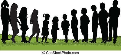 bambini, natura