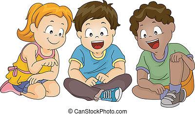 bambini, osservare giù, mentre, seduta