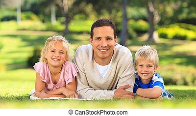 bambini, padre, suo