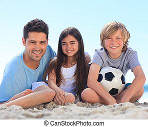 bambini, padre, suo, palla