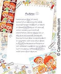 bambini, pagina, diario, memoria
