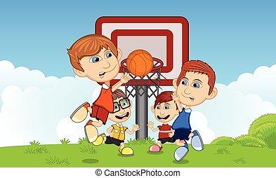 bambini, pallacanestro, gioco