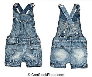 bambini, pantaloncini denim