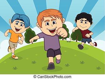 bambini, parco, cartone animato, gioco
