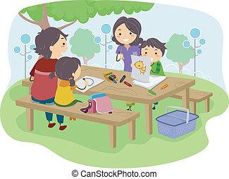 bambini, parco, disegno, famiglia