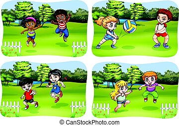 bambini, parco, gioco, felice