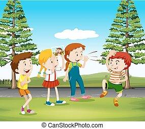 bambini, parco, scimmia, gioco