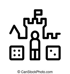 bambini, personaggio, segno, vettore, castello, interattivo, icona