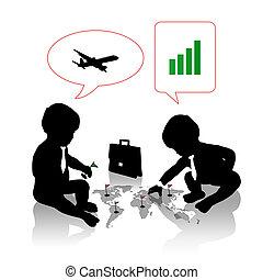 bambini, pianificazione, uno, viaggio lavoro