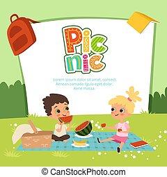 bambini, picnic, giardino, banner., seduta, un po', vettore, frutte, mangiare