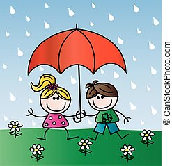 bambini, pioggia, felice