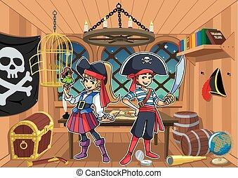 bambini, pirata, cabina