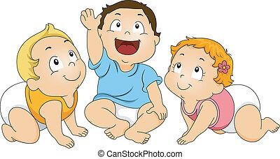 bambini primi passi, guardando