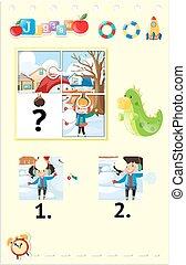 bambini, puzzle, jigsaw, neve, gioco, gioco